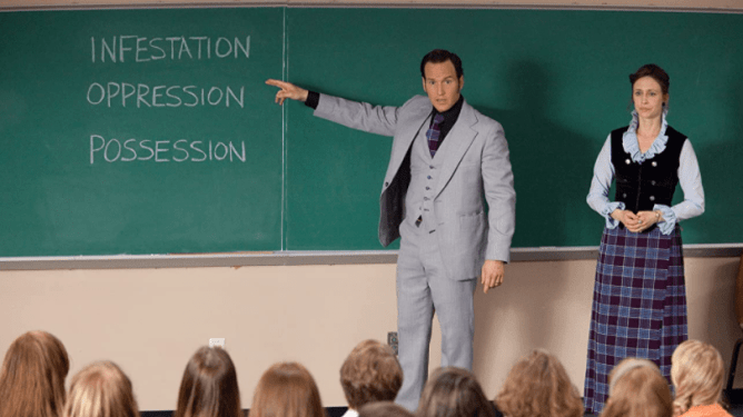 Ed and Lorraine Warren teach a class the 3 steps of demonic possession as seen in THE CONJURING, coming in at number 4 in our Conjuring Universe ranking.