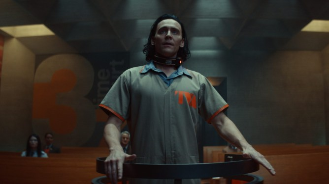 TomHiddleston as Loki faces trial against his crimes at the Time Variance Authority as seen in the new Marvel Disney+ series Loki produced by Kevin Feige.