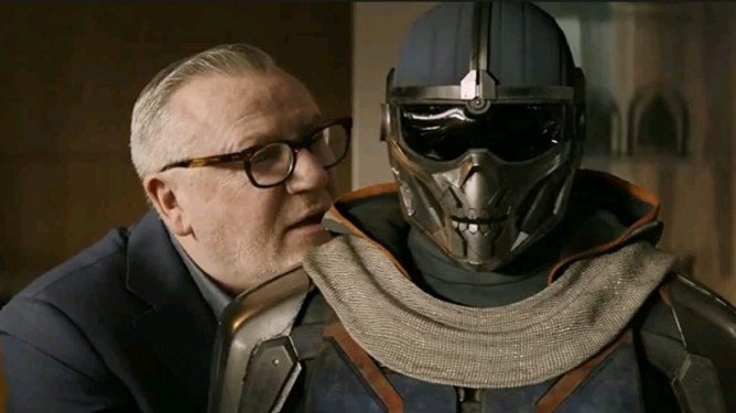 Ray Winstone as Dreykov next to Taskmaster as seen in Marvel's BLACK WIDOW written by Eric Pearson.