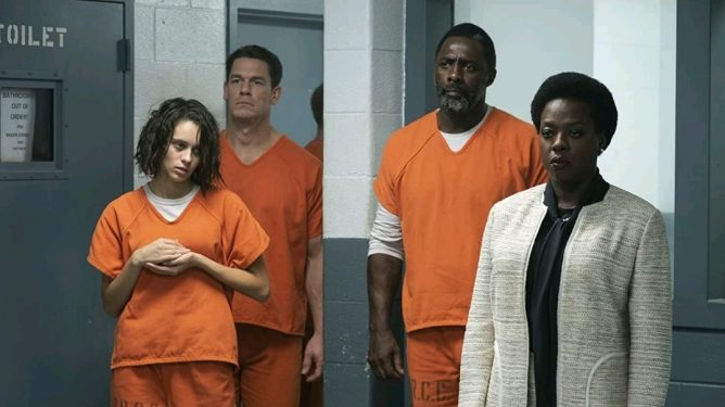 Amanda Waller recruits Ratcatcher II, Peacemaker, and Bloodsport to Task Force X in prison as seen in THE SUICIDE SQUAD directed by James Gunn.
