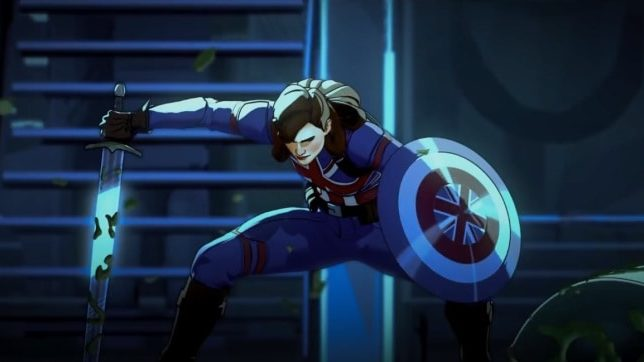 Captain Carter voiced by Hayley Atwell holding the British shield and a rusty sword as seen in the first animated Marvel series on Disney+ WHAT IF...?