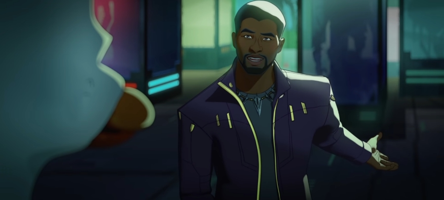T'Challa in an alternative universe where he became Star-Lord and meets Howard the Duck as seen in the first MCU animated series on Disney+ WHAT IF...?