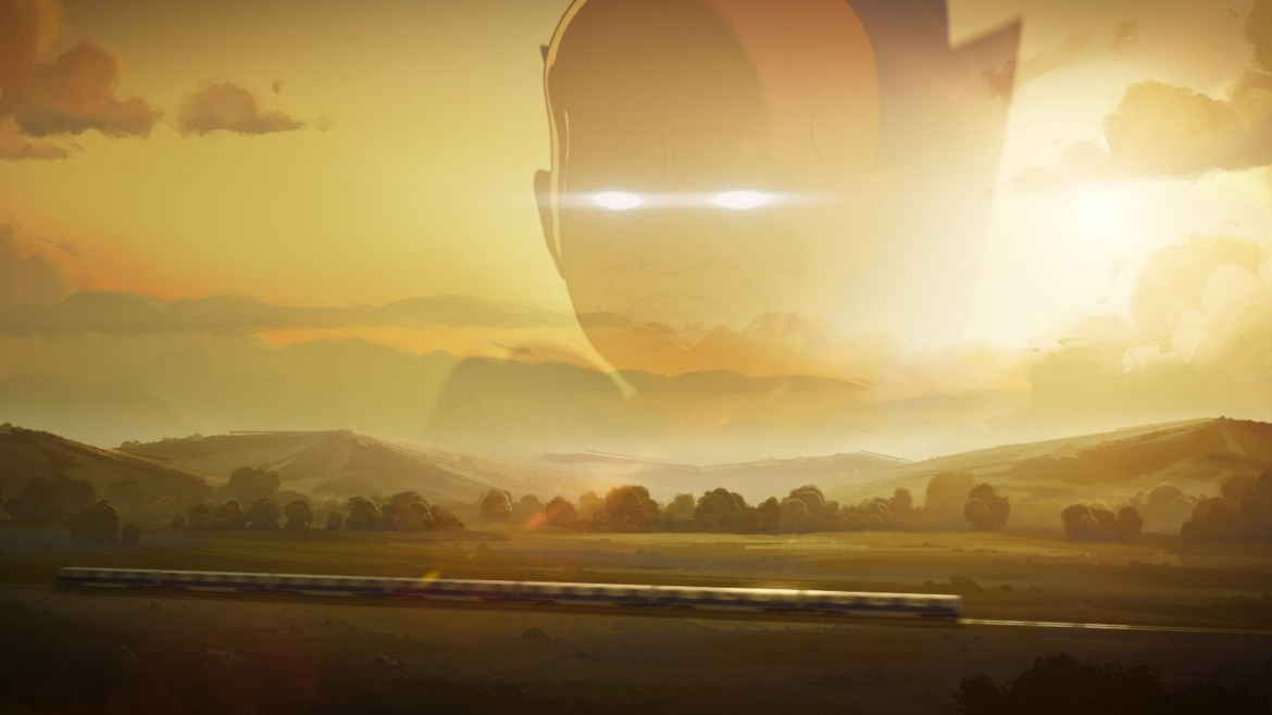 The Watcher overlooking a train full of surviving marvel heroes riding across a golden sunset as seen in the animation series WHAT IF...? on Disney+