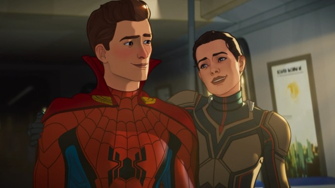 Spider-Man wearing Doctor Strange's cloak of levitation shares a moment with the Wasp as seen in episode 5 of WHAT IF...? on Disney+