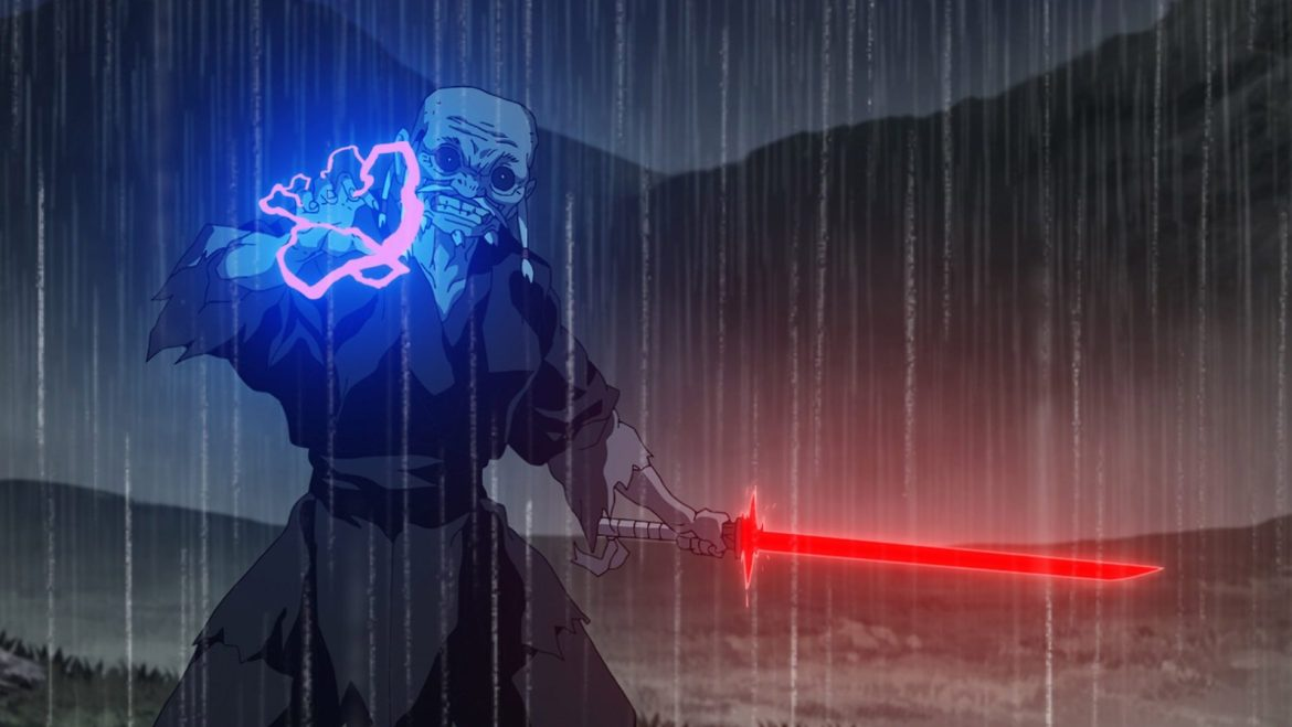 The Elder from STAR WARS: VISIONS holds a red, blade-shaped lightsaber in one hand while blue lightning crackles from his other one. His eyes are black with white dots in the middle and he wears black robes.