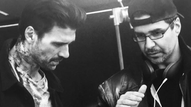 James DeMonaco working with actor Frank Grillo