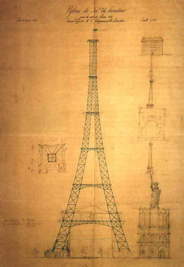 Maurice Koechlin's first drawing of the Eiffel Tower #art #travel #paris #france