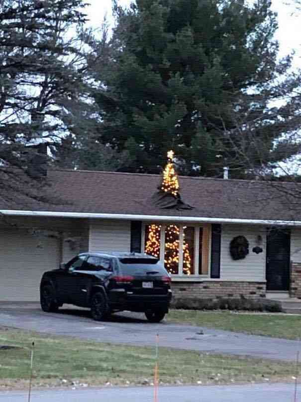 Through the roof Christmas Tree