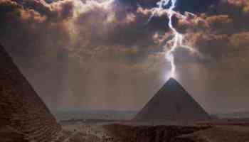 Dragon Storm: A thunderstorm over the Great Pyramids of Giza