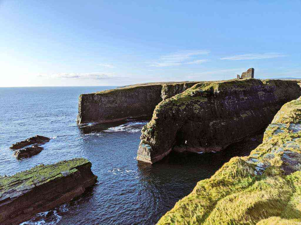 "Take an amazing ""bird's eye"" view above Scotland's Orkney's cliffs"