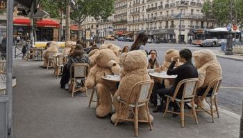 Giant teddy bears enforce social distancing in Paris cafe