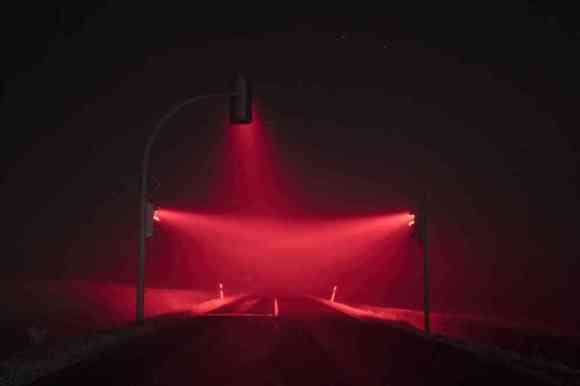 Long exposure traffic lights in the night