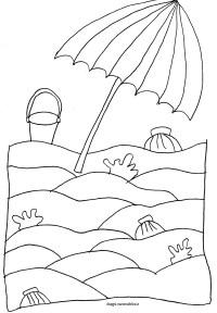 Disegno da colorare spiaggia e ombrellone | Disegni ...