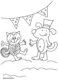Disegno da colorare: Cane e Gatto | Disegni Mammafelice