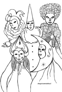 Maschere Carnevale di Venezia da colorare