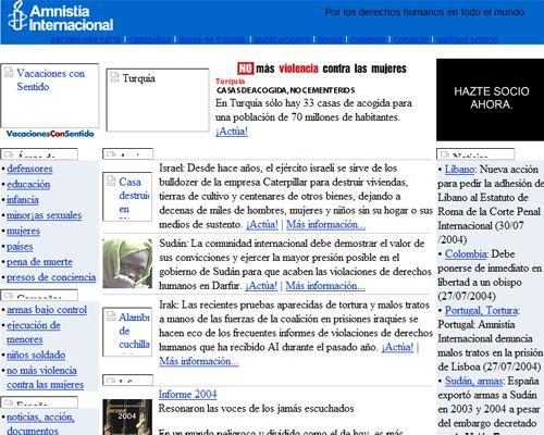 usabilidad de la antigua web de amnistia