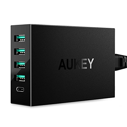 AUKEY Amp USB Charger with USB C Port & 4 USB Ports