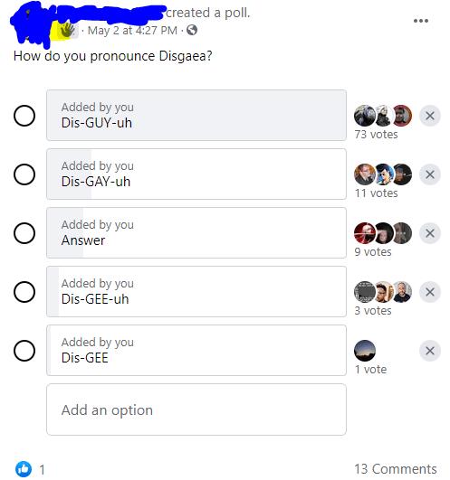 disgaea rpg facebook group poll
