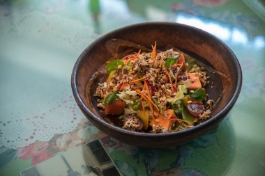 Grilled Peach Papaya with Amaranth Granola Salad