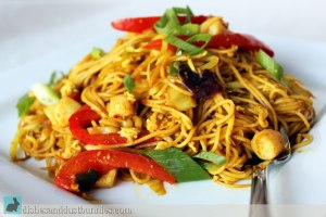 Asian Inspired Curried Noodles with Bay Scallops & Veggies