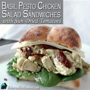 Basil Pesto Chicken Salad Sandwiches with Sun-Dried Tomatoes