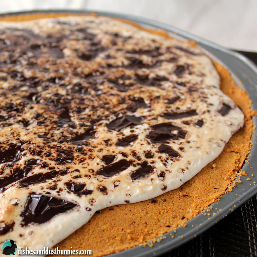 S'mores Cookie Pizza from dishesanddustbunnies.com