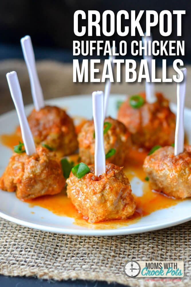 Crockpot Buffalo Chicken Meatballs from Moms with Crockpots