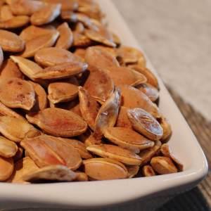 How to Roast Pumpkin Seeds from dishesanddustbunnies.com