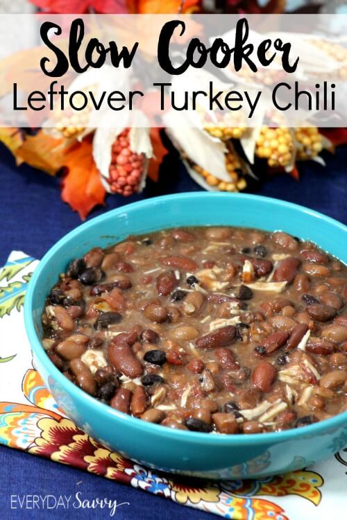 Slow Cooker Leftover Turkey Chili Recipe from Everyday Savvy