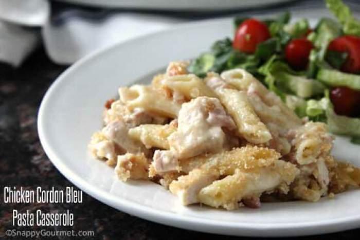 Chicken Cordon Bleu Pasta Casserole from Snappy Gourmet