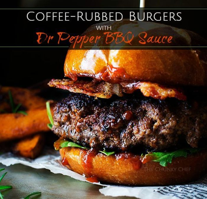 Coffee Rubbed Burgers with Dr Pepper BBQ Sauce from The Chun
