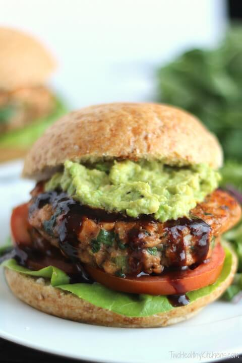Asian Salmon Burgers with Avocado and Hoisin Sauce (Gluten-Free Option, Too!) from Two Healthy Kitchens