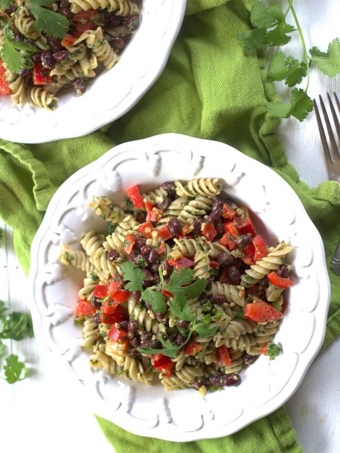 Cilantro Pesto Pasta & Black Bean Salad from Connoisseurus Veg