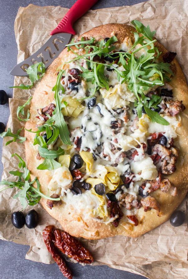 Italian Sausage Artichoke Cheese Pizza from An Italian in my Kitchen
