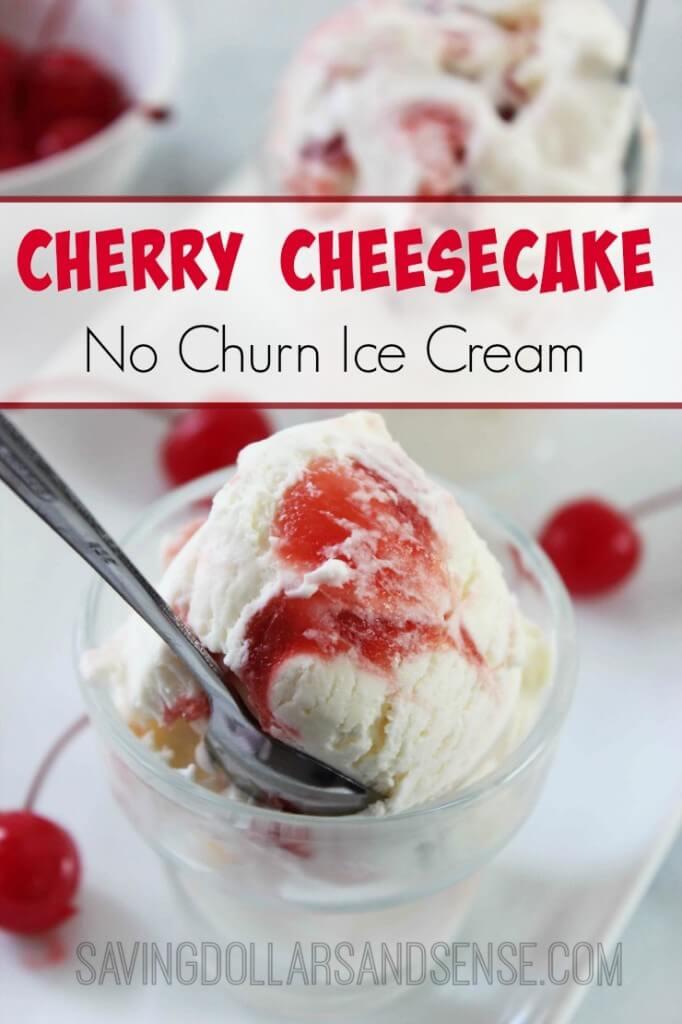 No Churn Cherry Cheesecake Ice Cream from Saving Dollars & Sense