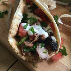 Mediterranean Steak Pita Wraps with Mint Yogurt Sauce from A Cedar Spoon