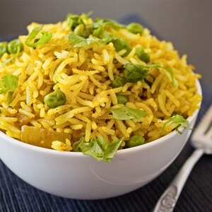Easy Curry Fried Rice from dishesanddustbunnies.com