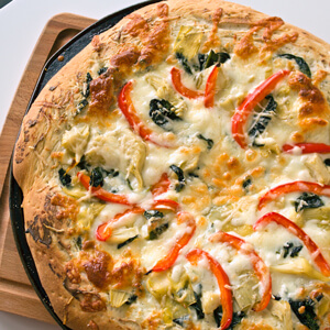 Four Cheese Spinach Artichoke Pizza
