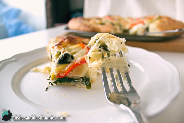 Four Cheese Spinach Artichoke Pizza from dishesanddustbunnies.com