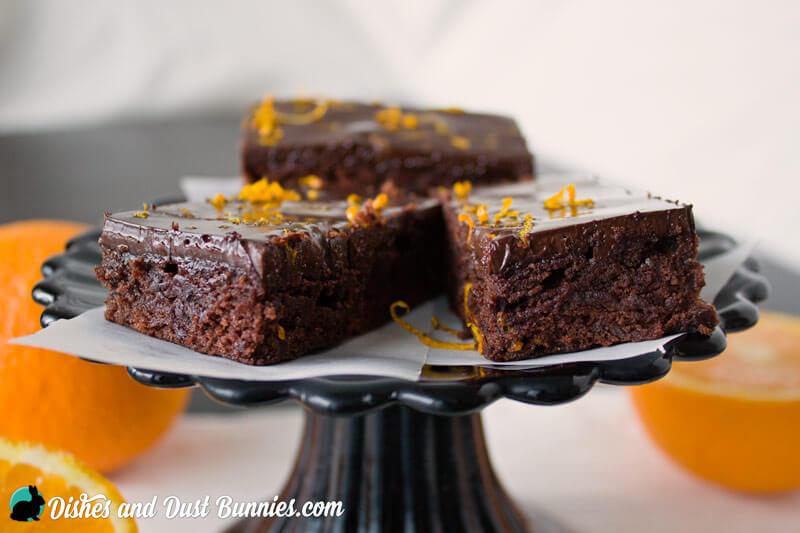Chocolate Orange Brownies from dishesanddustbunnies.com
