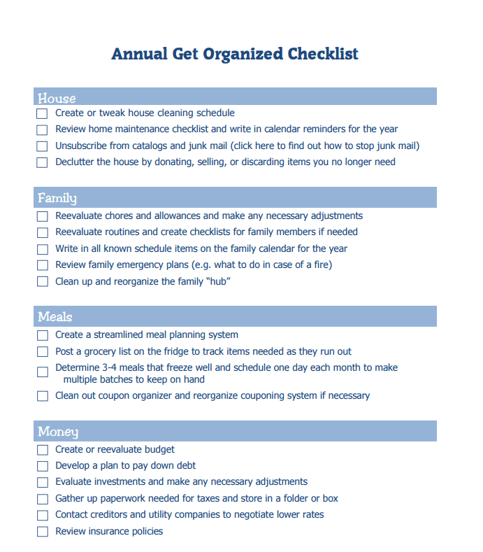 Get Organized for the Year - Printable Checklist