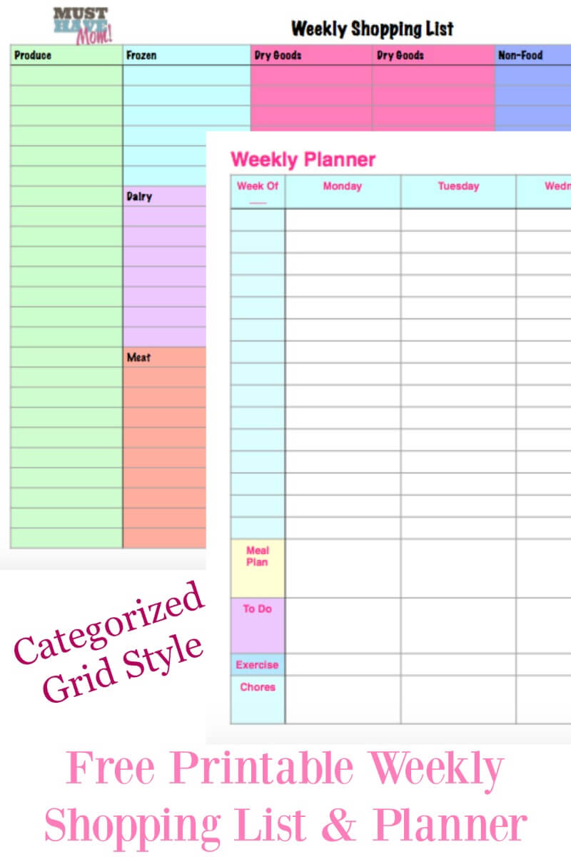 Free Printable Weekly Planner & Weekly Shopping List! + How I Organize My Week from Must Have Mom