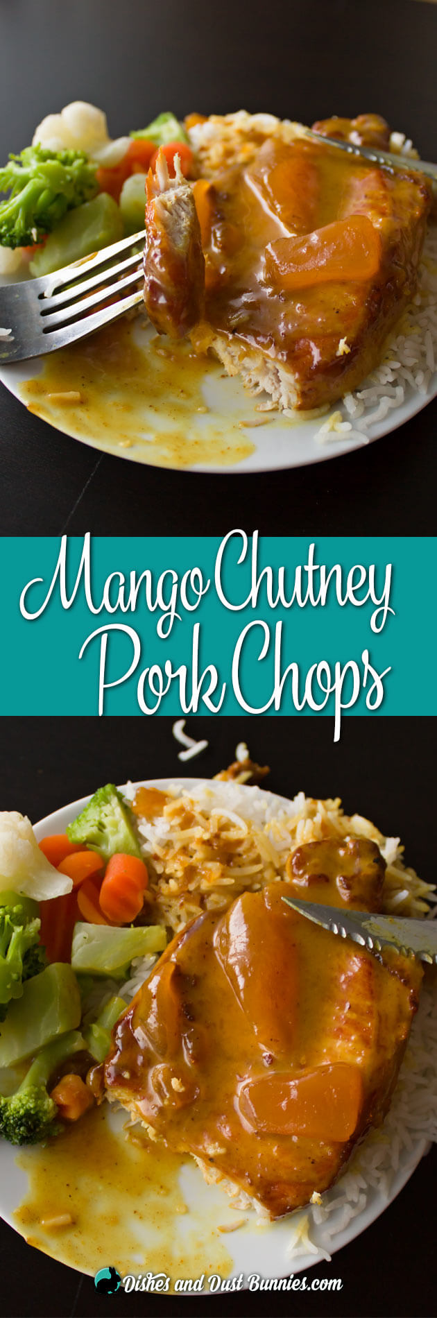 Mango Chutney Pork Chops from dishesanddustbunnies.com