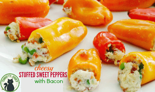 Cheesy Stuffed Sweet Peppers with Bacon Recipe from Thrifty Jinxy