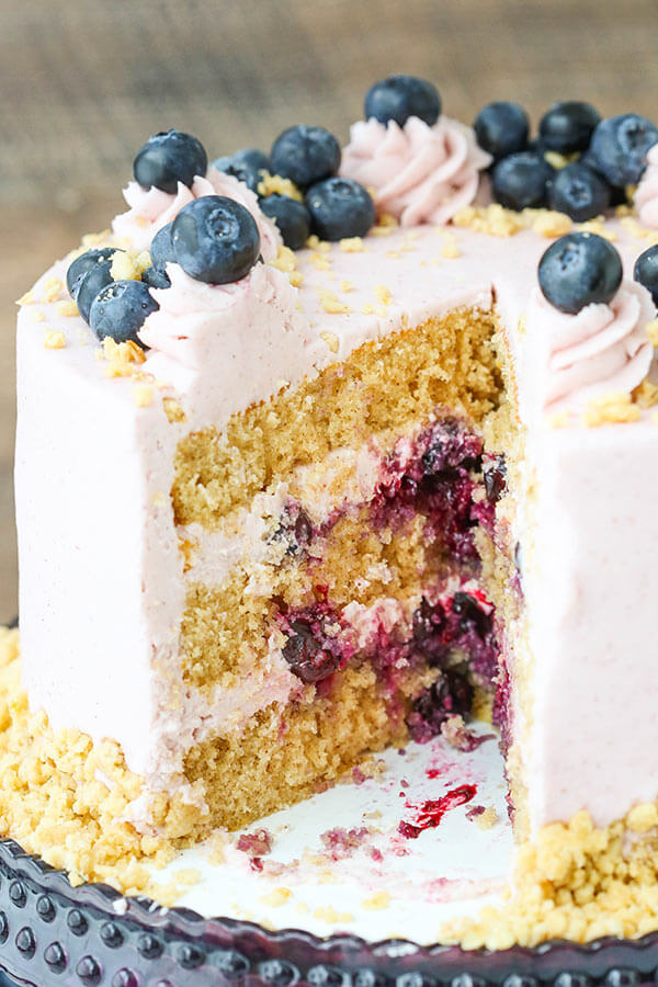 Blueberry Crumble Layer Cake from Life, Love and Sugar