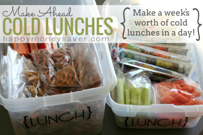 Make Ahead Cold Lunches {A Week's Worth of Lunches in a day!} from Happy Money Saver