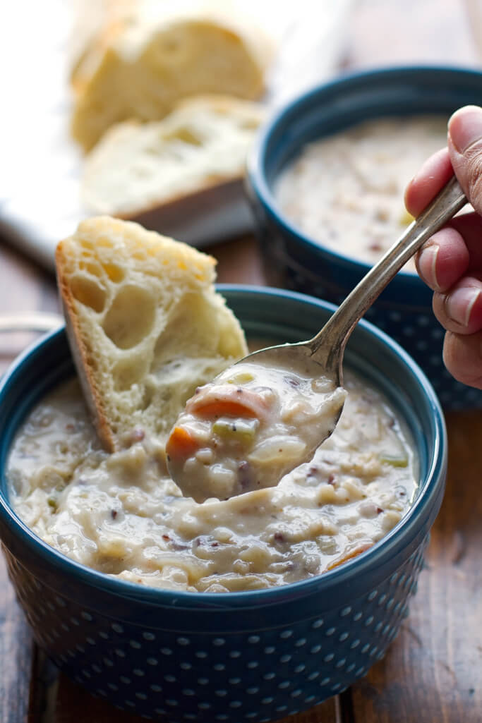 Creamy Chicken Wild Rice Soup (Slow Cooker) - from Little Spice Jar