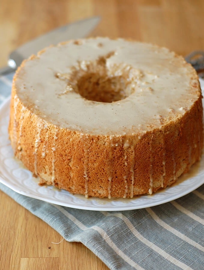 Pumpkin Spice Angel Food Cake with Coffee Glaze from Turnip the Oven
