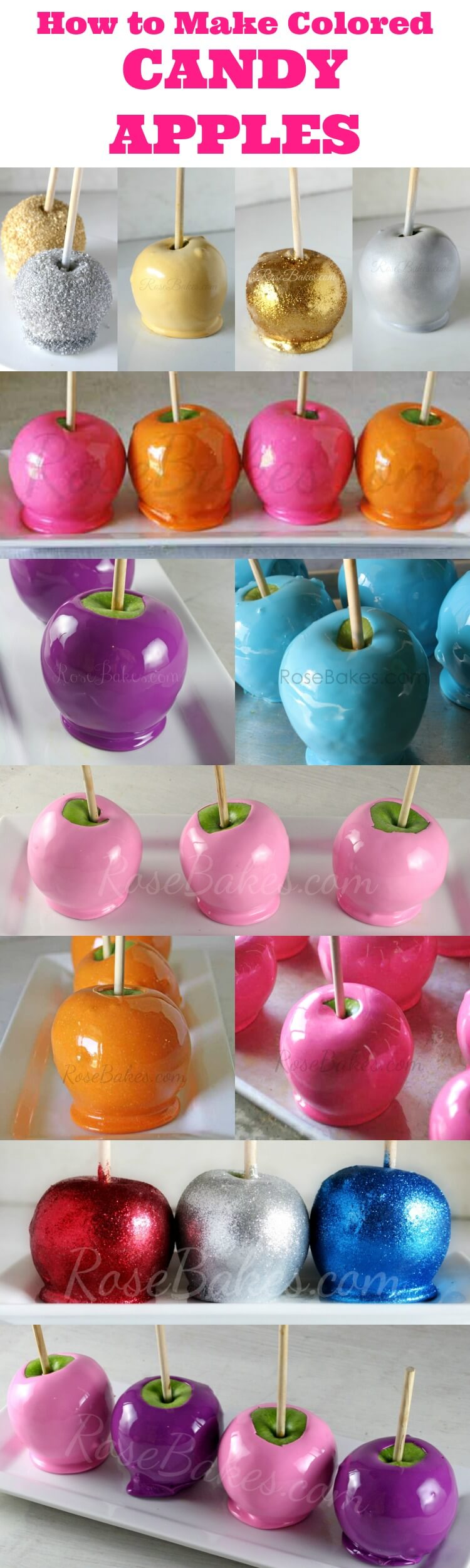 How to Make Colored Candy Apples from Rose Bakes