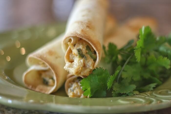 Homemade Chicken Taquitos with Cilantro & Pepper-Jack Cheese from Happy Money Saver